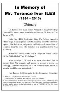 Obituary - In Memory of Mr. Terence Ivor ILES